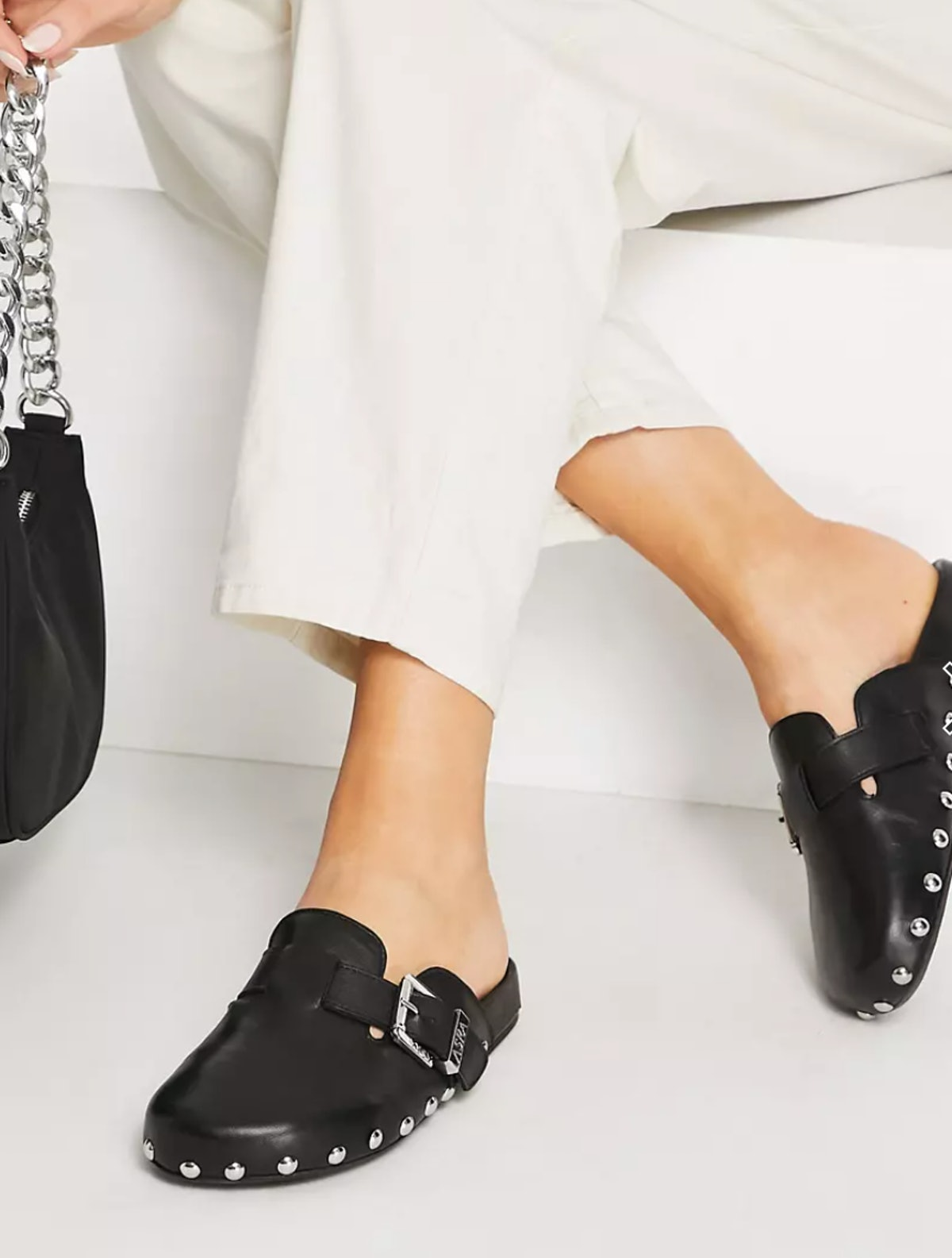 ASRA Fenton studded clog in black leather