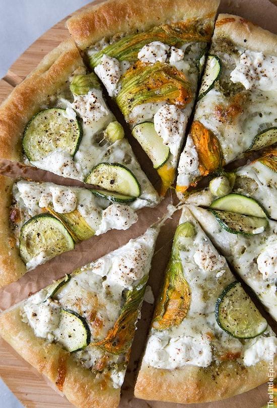 squash blossom ricotta and zucchini homemade pizza