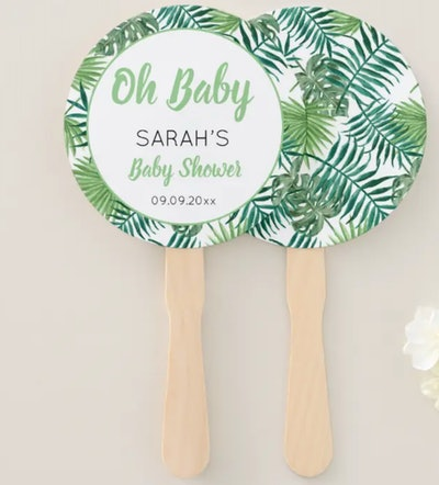 Greenery Cute Tropical Leaf Baby Shower Hand Fan