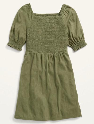 Smocked Elbow-Sleeve Dress