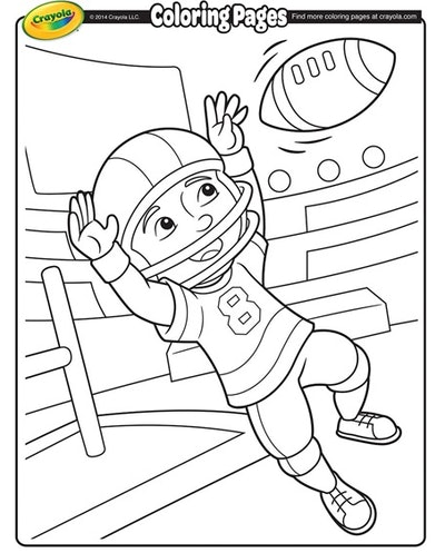 cartoon wide receiver catching a football coloring sheet