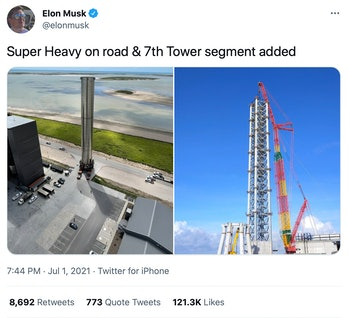 Musk's photos of the booster and launch tower.
