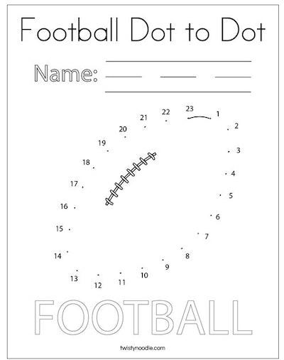 football dot-to-dot activity page