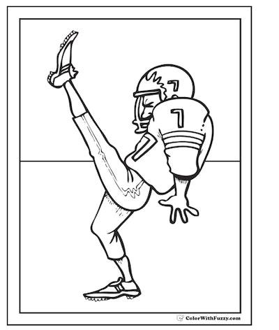 Football Kicker Coloring Page