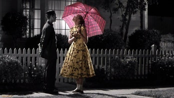 The girl with the umbrella in Pleasantville