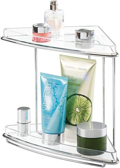 mDesign Metal 2-Tier Corner Storage Bathroom Vanity