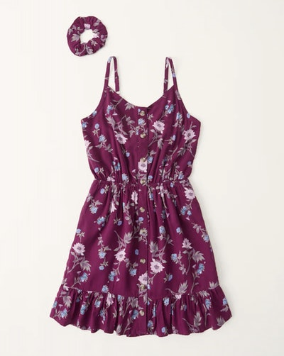 Button-Through Scrunchie Dress