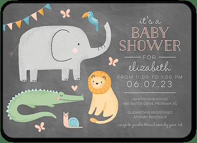 Friendly Animals Baby Shower Invitation