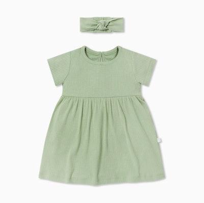 Ribbed Short Sleeve Dress & Headband Outfit