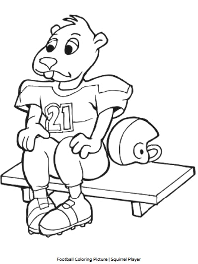 Cartoon Squirrel Football Player Coloring Sheet