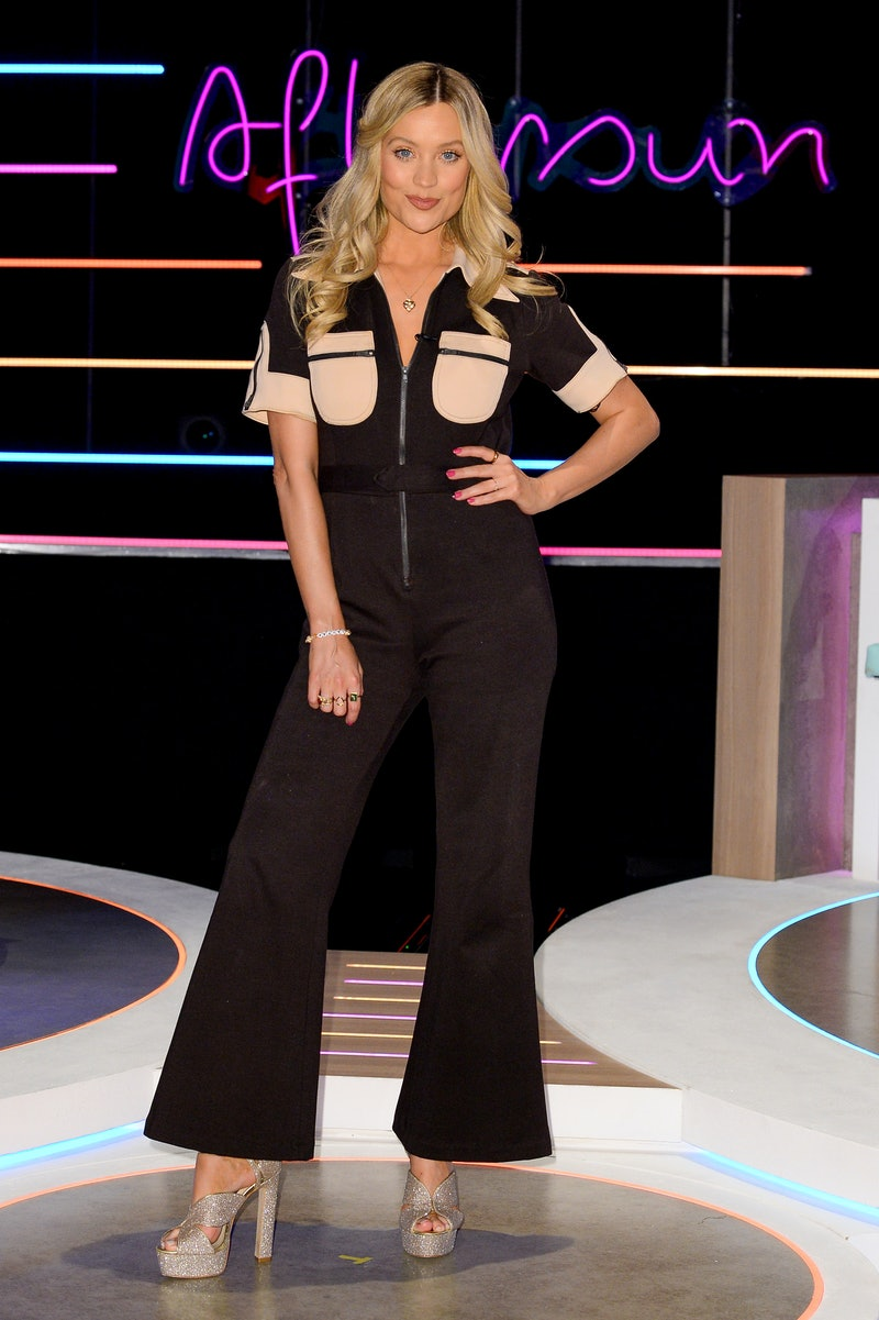 Laura Whitmore on 'Love Island: Aftersun' in a black jumpsuit
