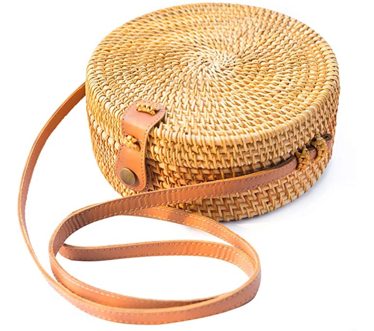 NATURAL NEO Round Rattan Bag