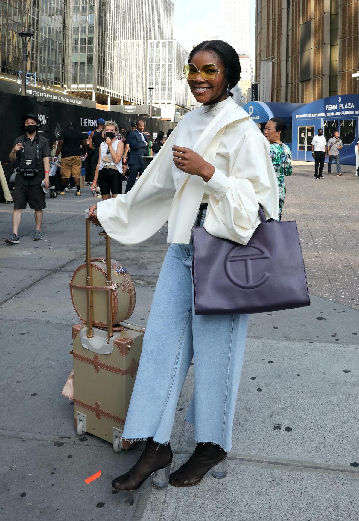 Gabrielle Union with purple Telfar bag.