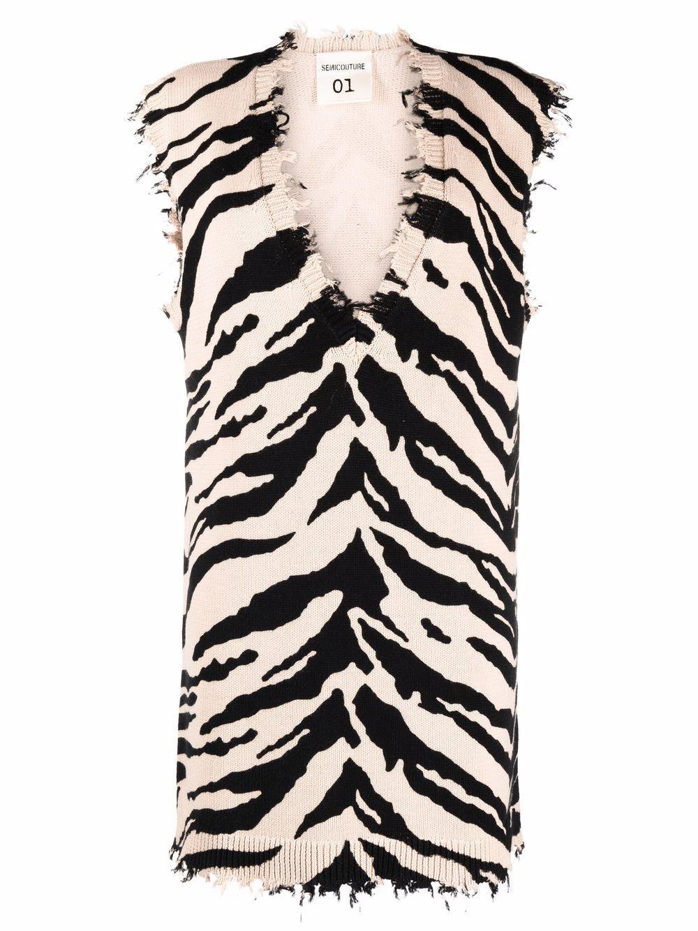 Semicouture Zebra Print Knitted Vest