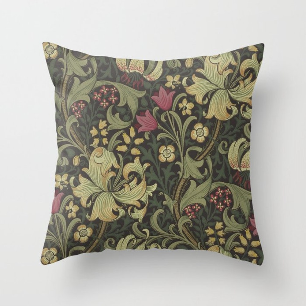 William Morris Vintage Golden Lily Black Charcoal Olive Green Throw Pillow