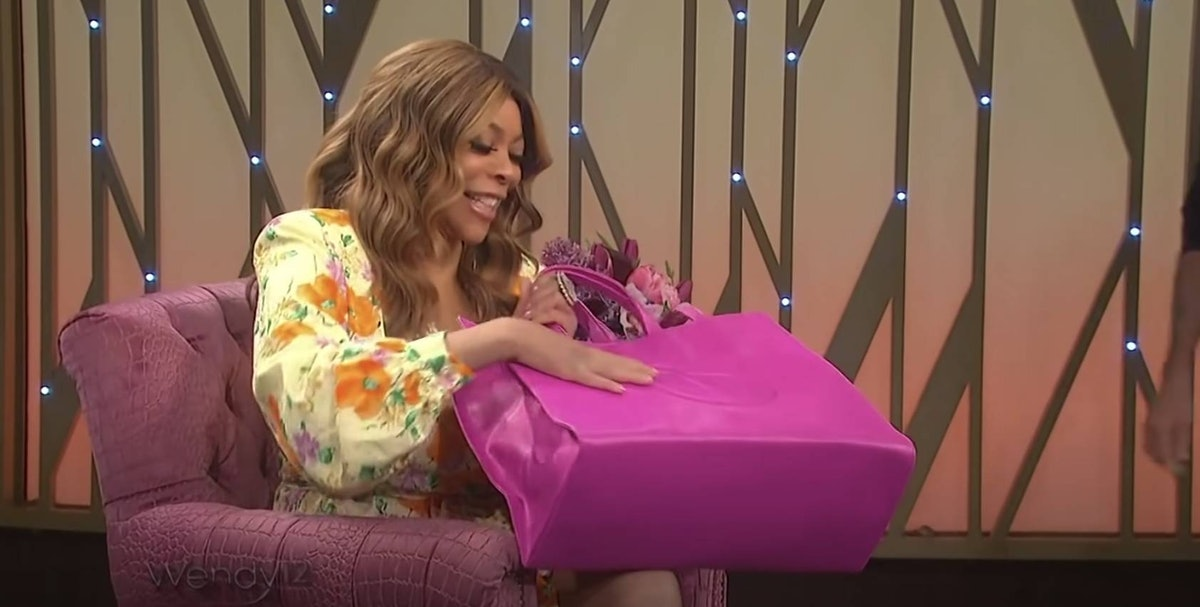 Wendy Williams with a pink Telfar bag.