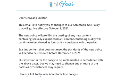 The email OnlyFans sent to creators