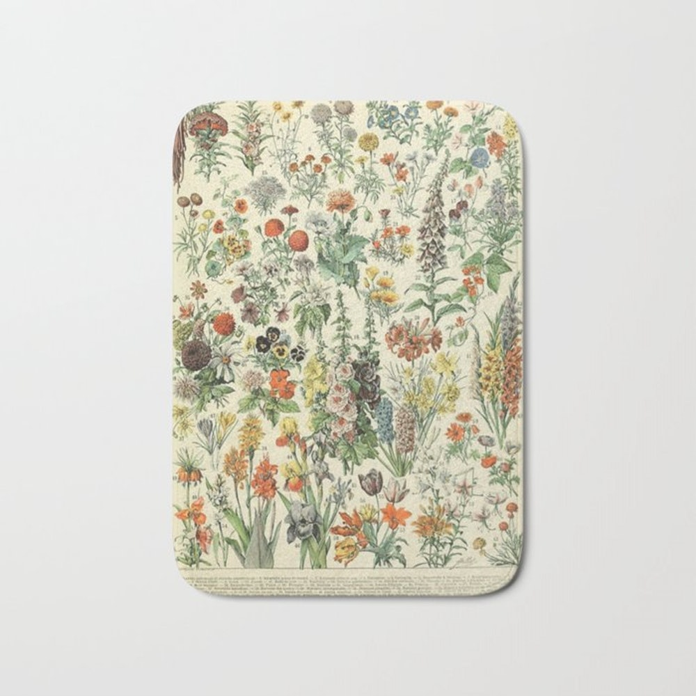 Adolphe Millot Vintage Fleurs Flower 1909 Bath Mat