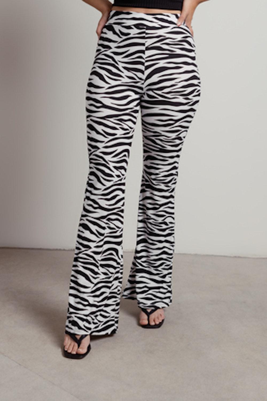 Dominique Ribbed Zebra Wide Leg Pants