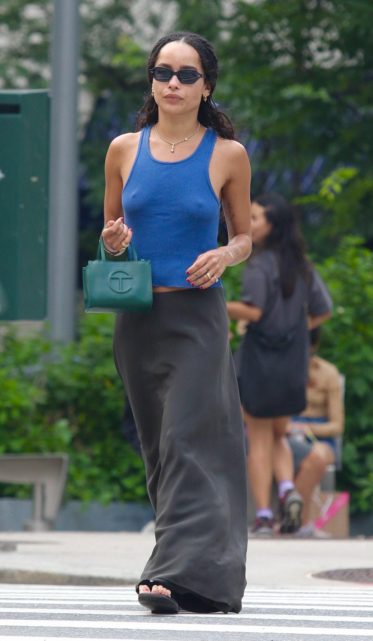 Zoe Kravitz with a green Telfar bag.