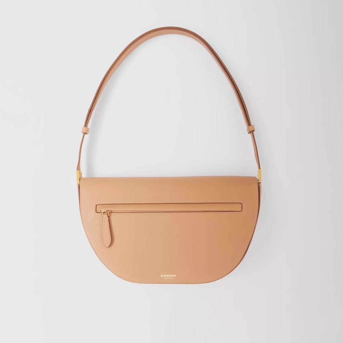 Medium Leather Olympia Bag in Warm Sand from Burberry.