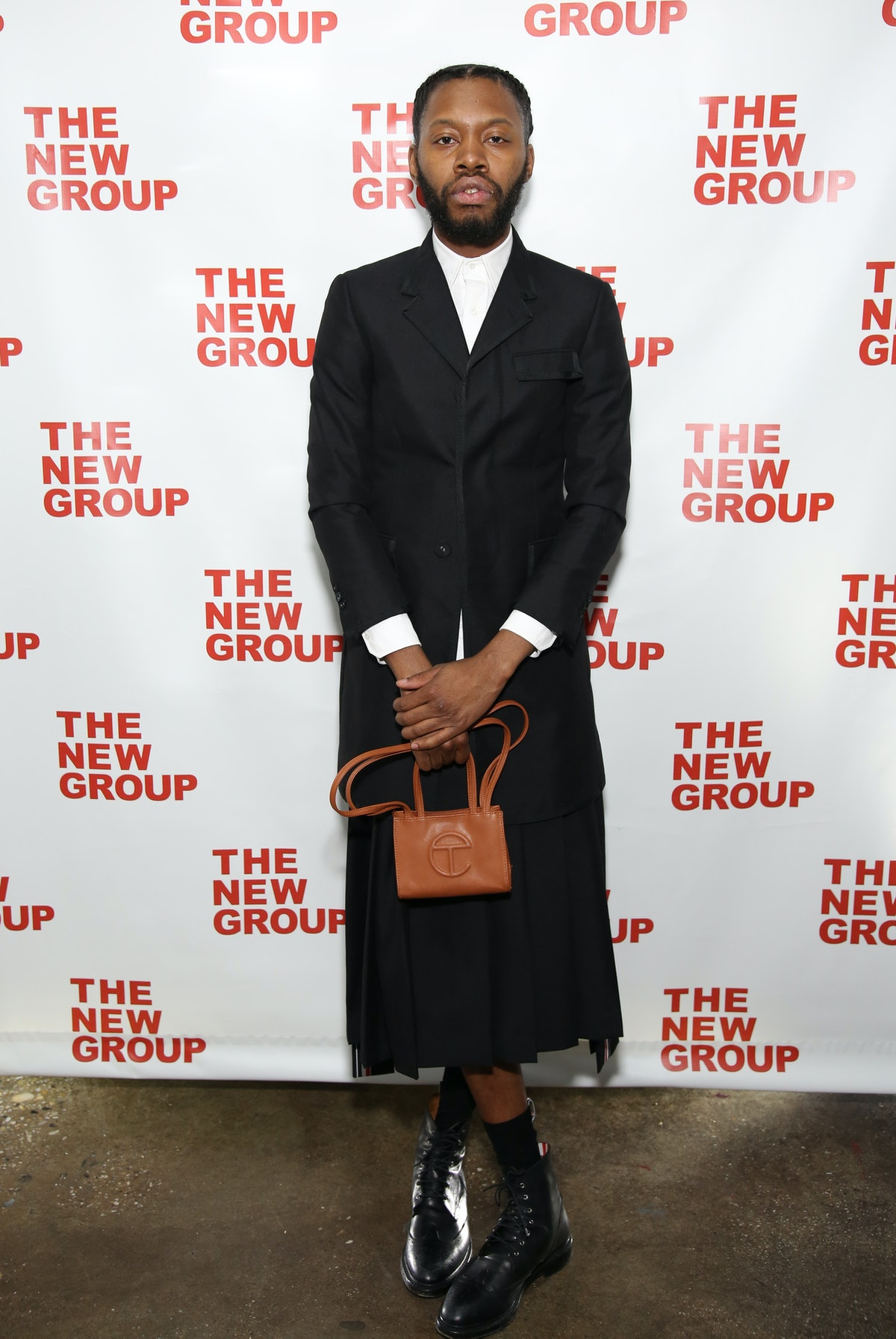 Jeremy O. Harris with a Telfar bag.