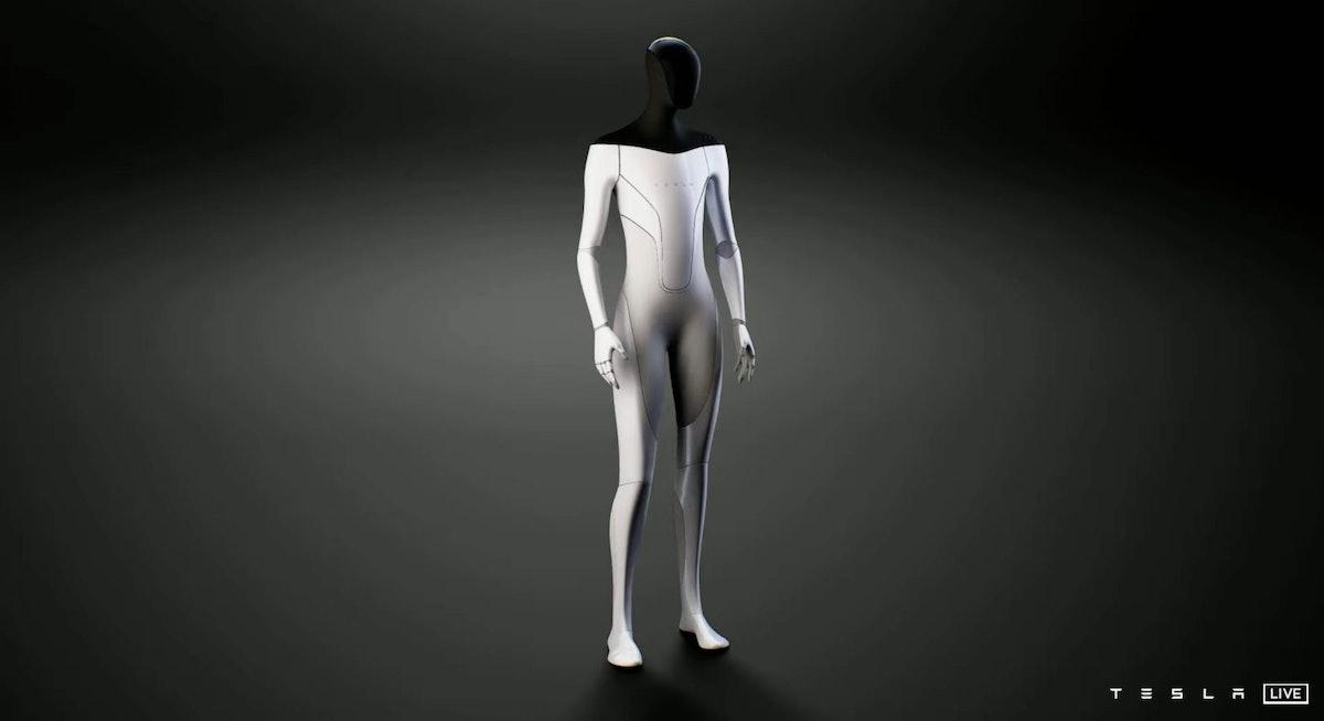 Tesla humanoid robot on a black background.