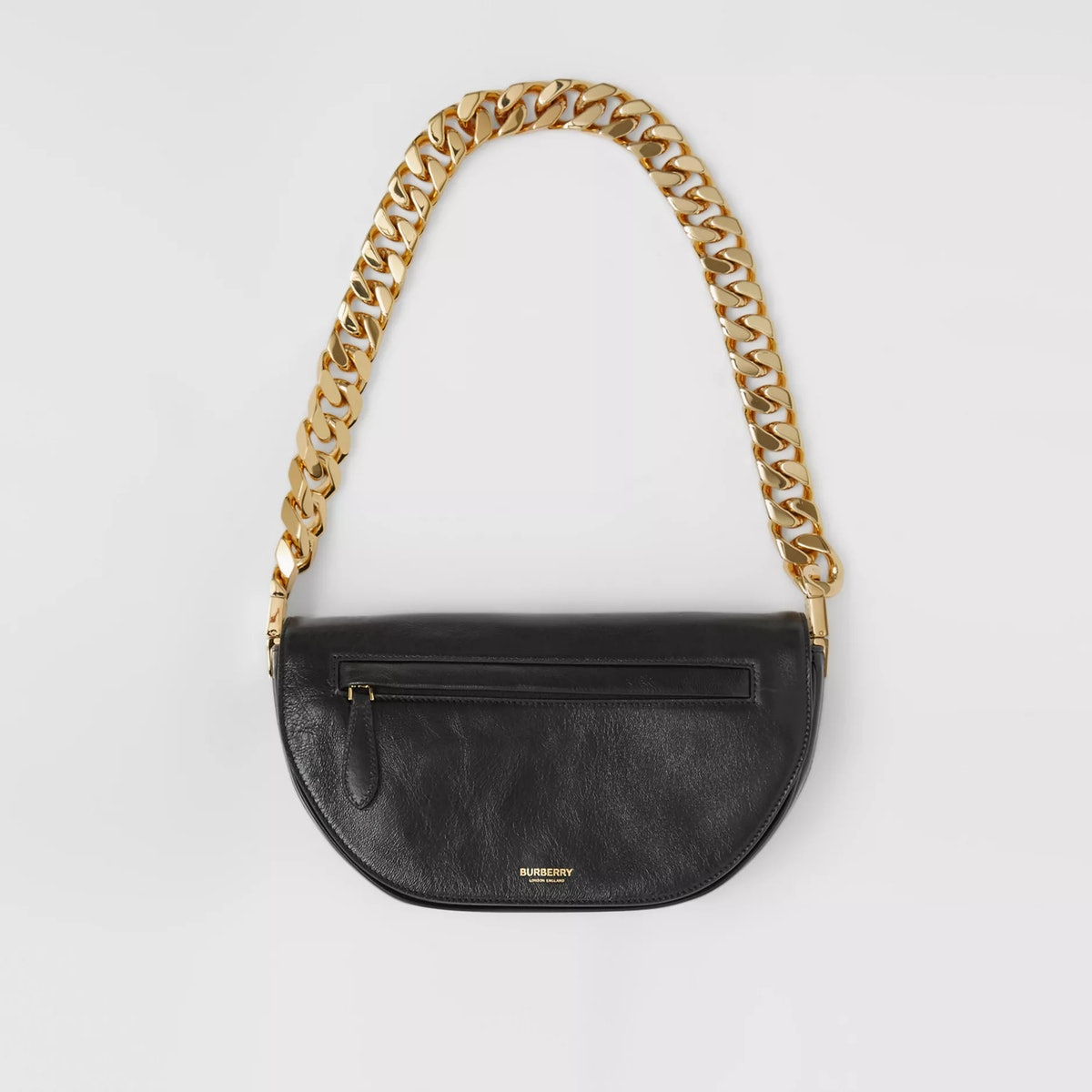 Small Burberry Olympia bag in black lambskin.