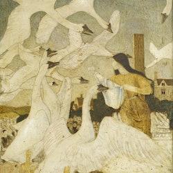 """The Wild Swans"" as depicted by illustrator Arthur Joseph Gaskin."
