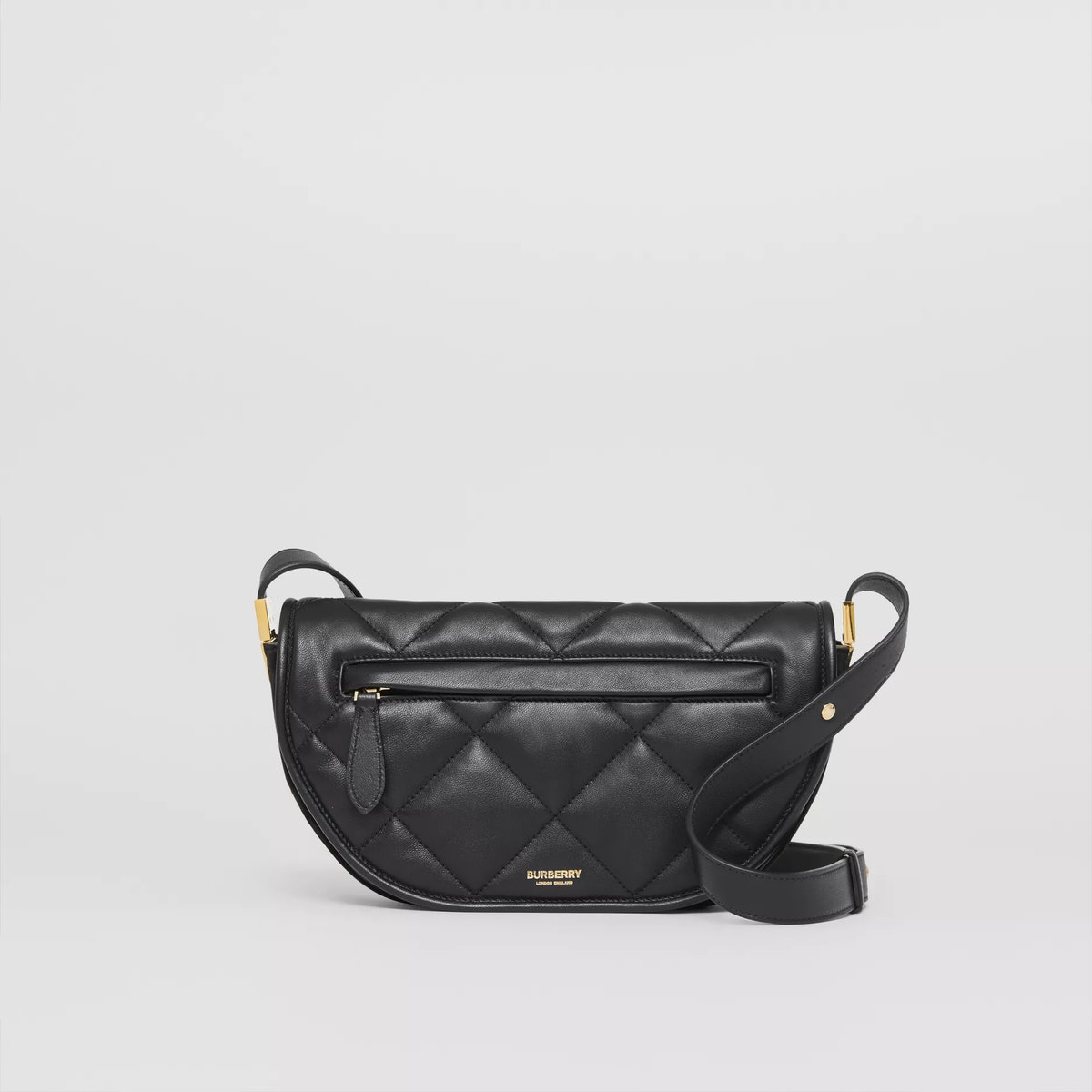 Small Quilted Lambskin Olympia Bag in Black from Burberry.