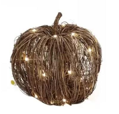 Image of rattan pumpkin with interior lights.