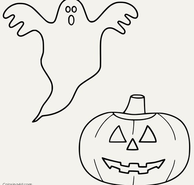 Pumpkin And Ghost Coloring Page