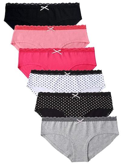 M GOO KIM Cotton Underwear Lace Hipster Panties (6-Pack)
