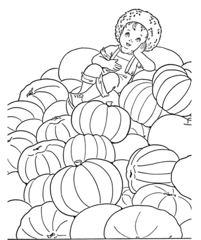 Child Sitting On A Pumpkin Patch Coloring Page
