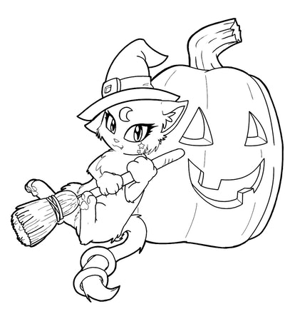 Cat Witch Coloring Page
