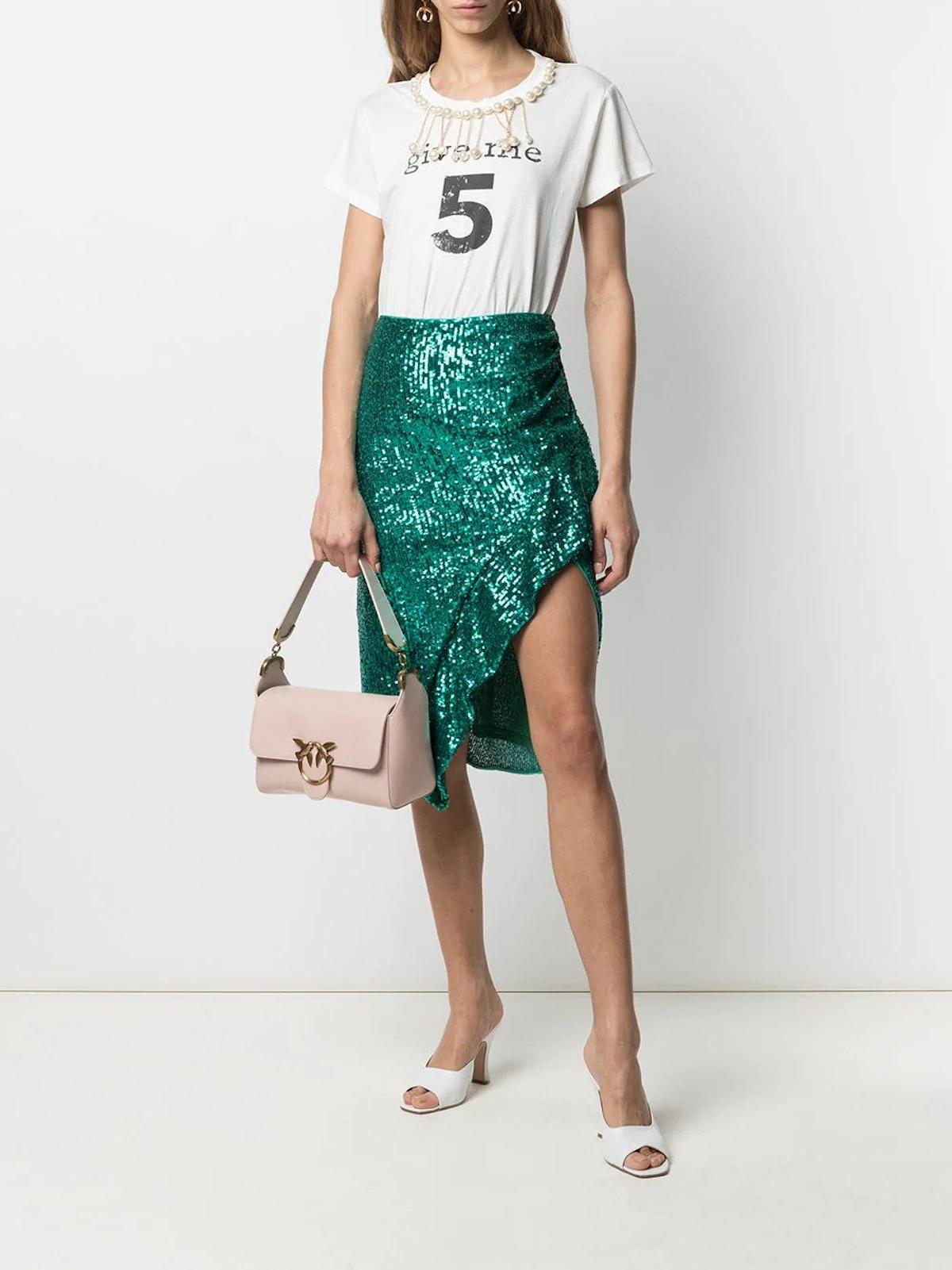 Square-Sequins Embellished Skirt
