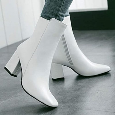 Caradise Chunky Heeled Square Toe Ankle Booties