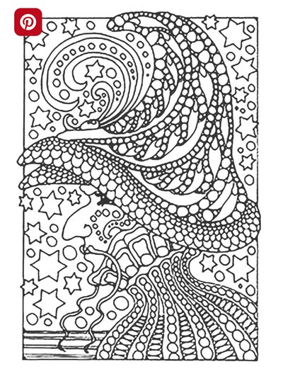 Mosaic Witch's Face Coloring Page