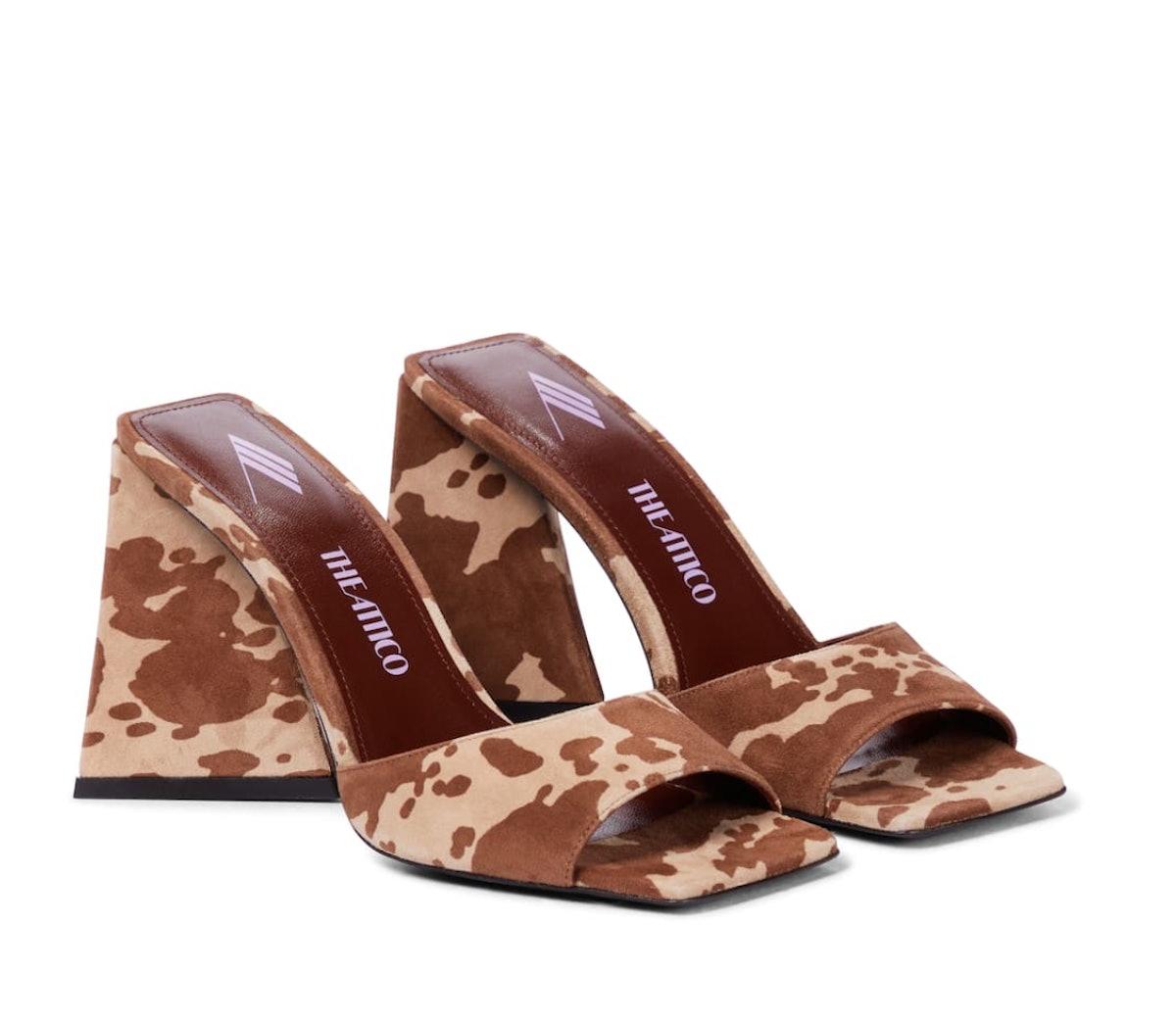 devon cow print suede sandals