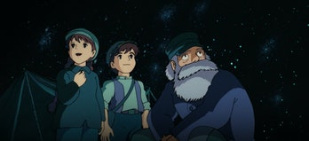 Sheeta, Pazu, and Uncle Pomme in the mine in Castle in the Sky