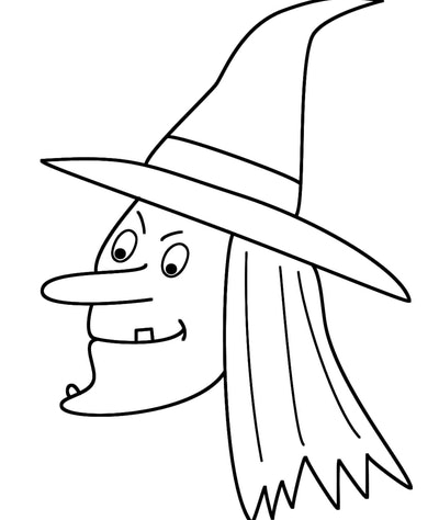 Simple Witch's Face Coloring Page
