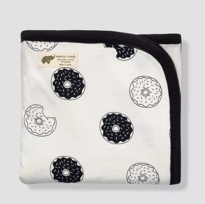 Swaddle blanket; white with black and white donuts