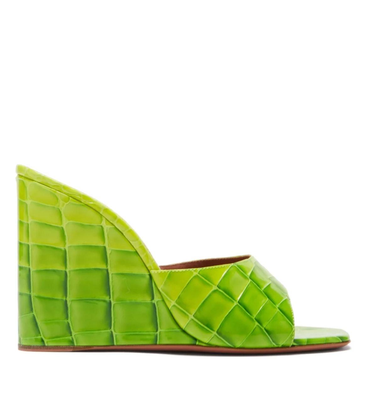 Lupita Croc-Embossed Wedges