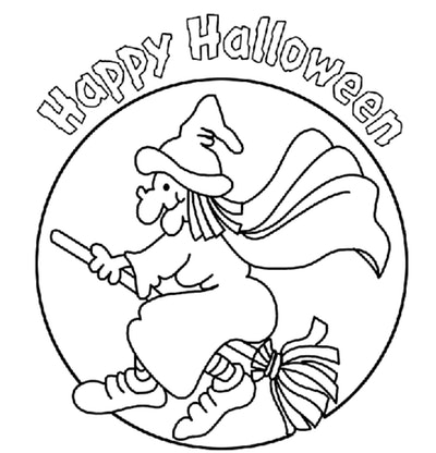 Happy Halloween Witch Coloring Page