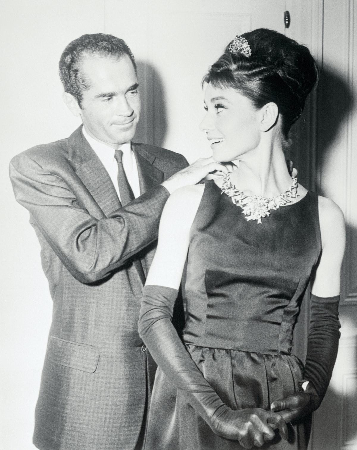 Film star Audrey Hepburn begins filming New York location scenes for Breakfast at Tiffany's, wearing...