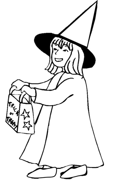 Witch Trick Or Treating Coloring Page