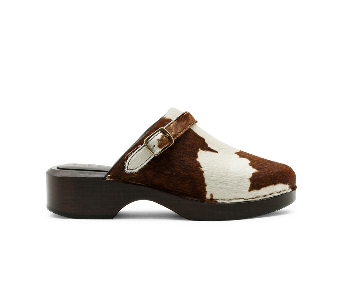 cow print calf hair and leather clogs