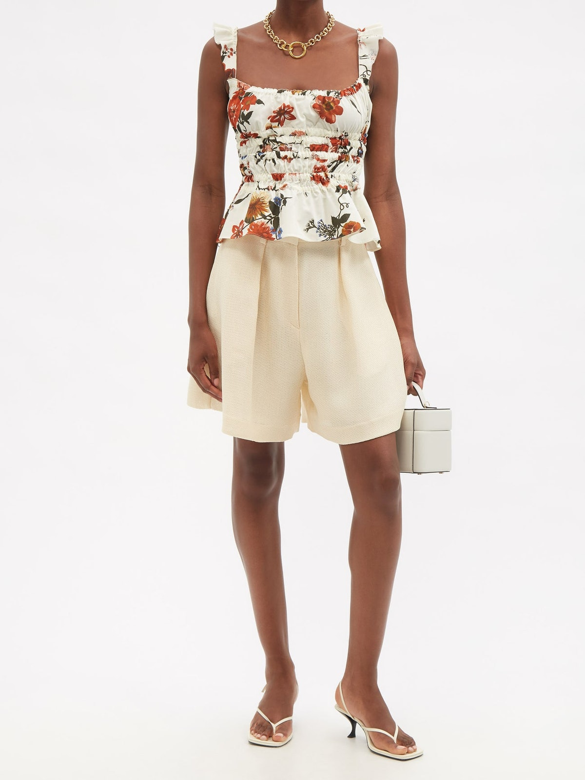 Silvia Ruched Floral-Print Cotton Top