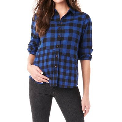 buffalo checkered blue and white button up shirt for maternity and nursing parents