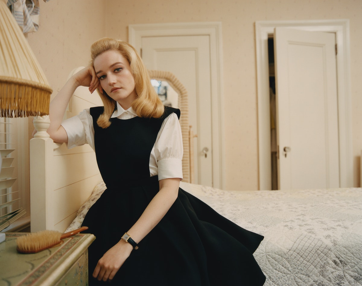 Julia Garner wears a Dior dress and shirt; Buccellati watch.